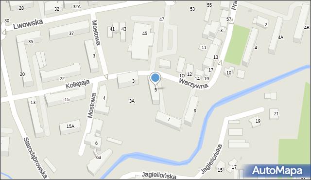 Tarnów, Warzywna, 5, mapa Tarnów