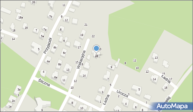 Toruń, Wakacyjna, 18, mapa Torunia