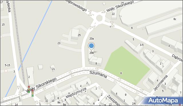 Toruń, Wały Władysława Sikorskiego, gen., 20b, mapa Torunia