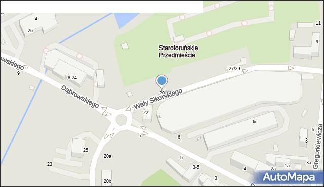 Toruń, Wały Władysława Sikorskiego, gen., 29, mapa Torunia
