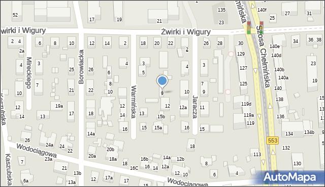 Toruń, Warmińska, 9, mapa Torunia