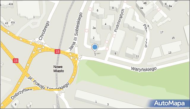 Toruń, Waryńskiego Ludwika, 1, mapa Torunia