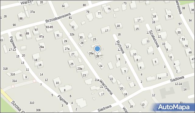 Toruń, Warzywna, 26, mapa Torunia