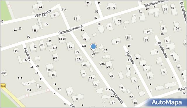 Toruń, Warzywna, 28, mapa Torunia