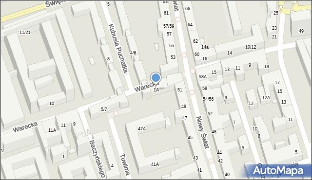 Warszawa, Warecka, 1A, mapa Warszawy