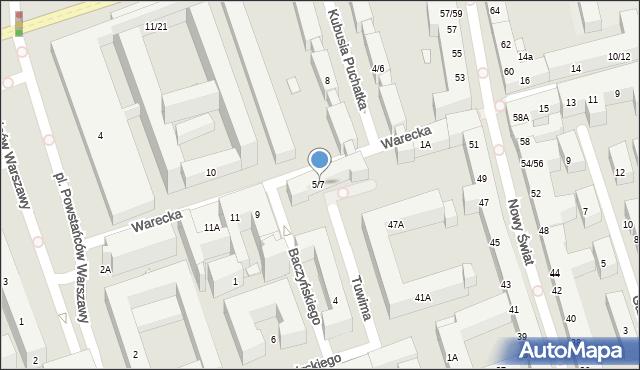 Warszawa, Warecka, 5/7, mapa Warszawy