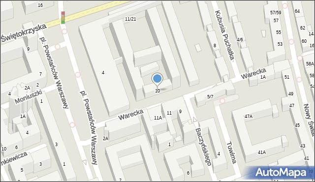 Warszawa, Warecka, 10, mapa Warszawy