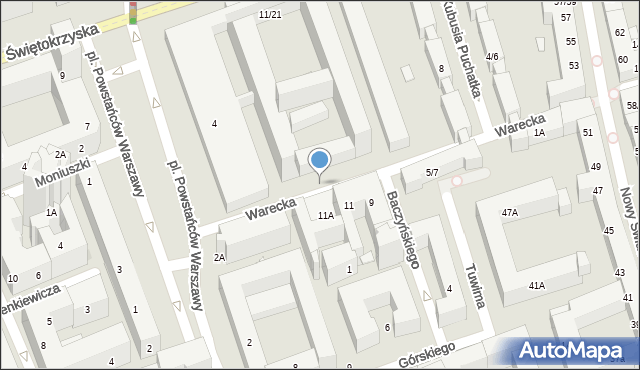 Warszawa, Warecka, 12a, mapa Warszawy