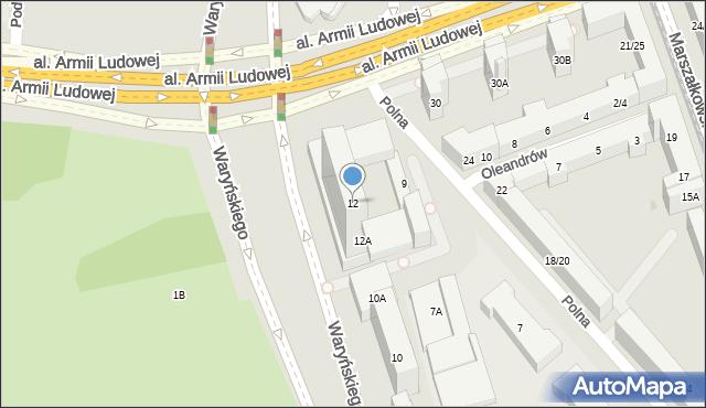 Warszawa, Waryńskiego Ludwika, 12, mapa Warszawy