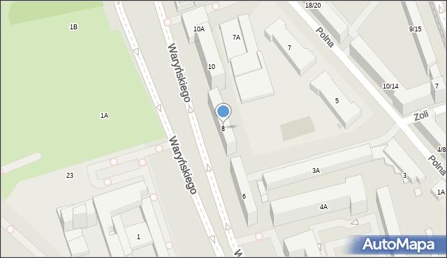 Warszawa, Waryńskiego Ludwika, 8, mapa Warszawy
