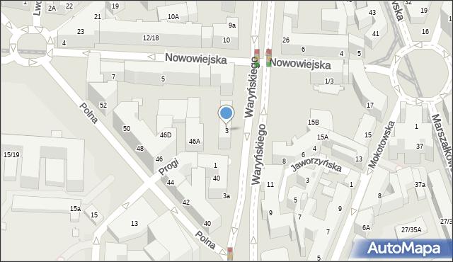Warszawa, Waryńskiego Ludwika, 3, mapa Warszawy