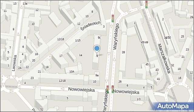 Warszawa, Waryńskiego Ludwika, 9, mapa Warszawy