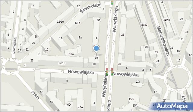 Warszawa, Waryńskiego Ludwika, 9b, mapa Warszawy