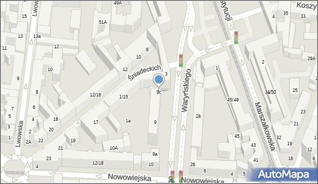 Warszawa, Waryńskiego Ludwika, 9c, mapa Warszawy