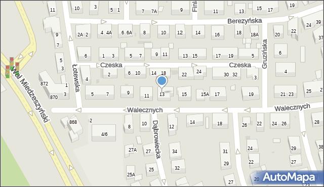 Warszawa, Walecznych, 13, mapa Warszawy