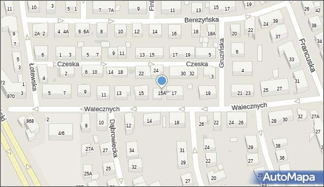 Warszawa, Walecznych, 15A, mapa Warszawy
