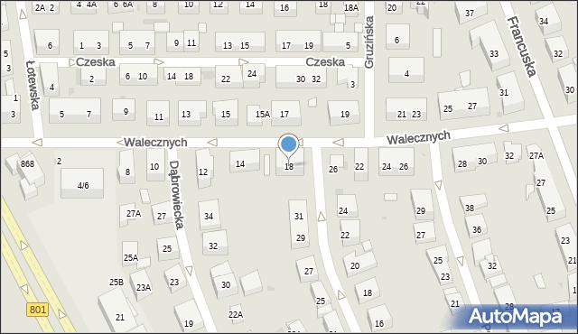 Warszawa, Walecznych, 18, mapa Warszawy