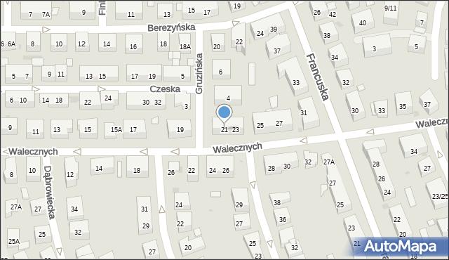 Warszawa, Walecznych, 21, mapa Warszawy