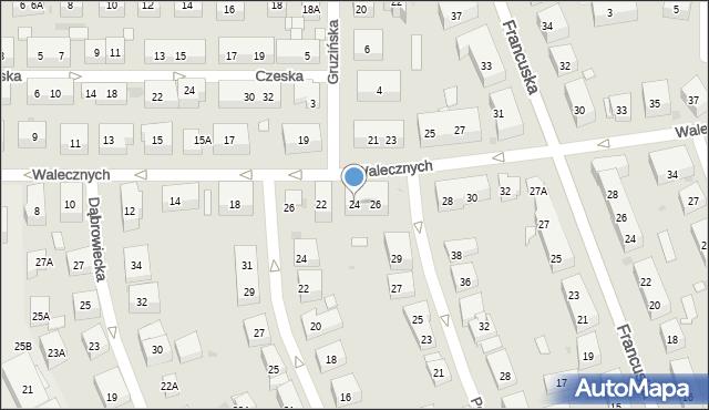 Warszawa, Walecznych, 24, mapa Warszawy