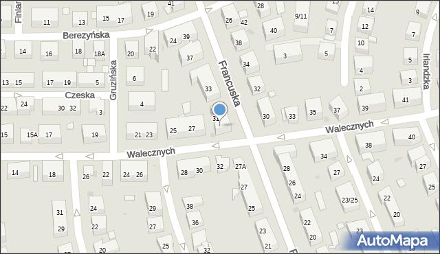 Warszawa, Walecznych, 29, mapa Warszawy