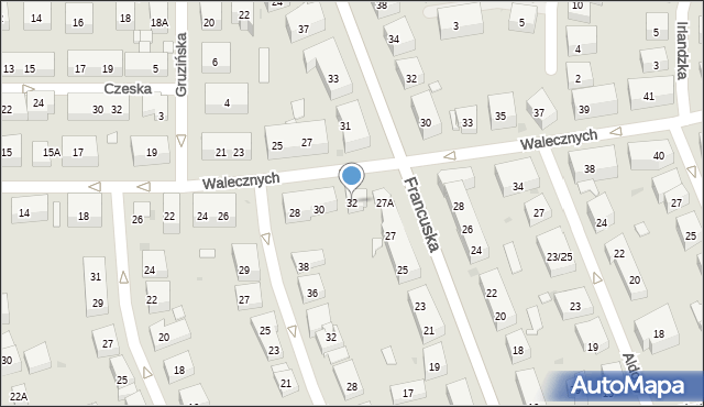 Warszawa, Walecznych, 32, mapa Warszawy