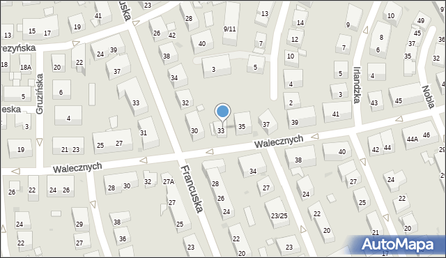 Warszawa, Walecznych, 33A, mapa Warszawy