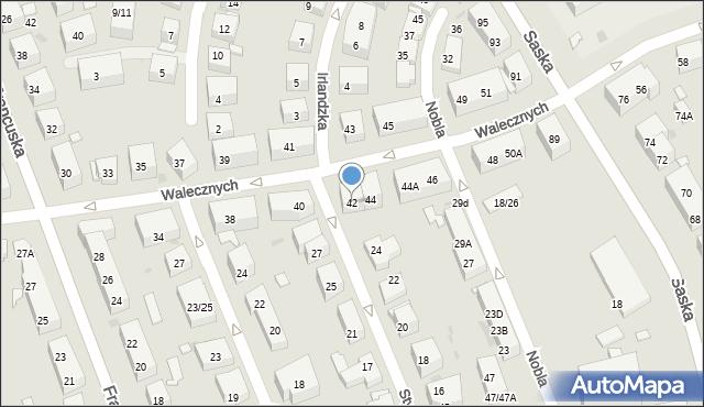 Warszawa, Walecznych, 42, mapa Warszawy