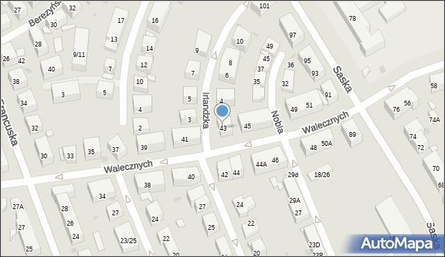 Warszawa, Walecznych, 43, mapa Warszawy