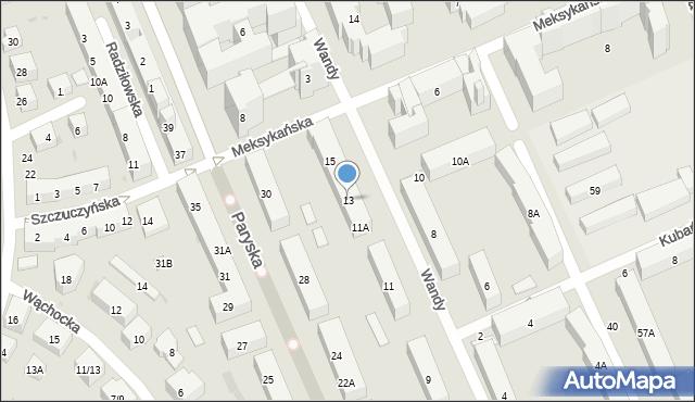 Warszawa, Wandy, 13, mapa Warszawy