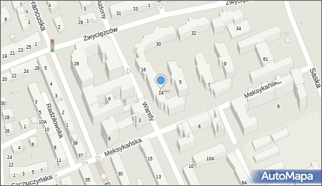 Warszawa, Wandy, 14, mapa Warszawy