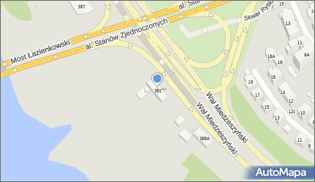 Warszawa, Wał Miedzeszyński, 391, mapa Warszawy