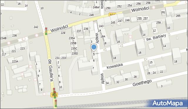 Zabrze, Wajdy Józefa, ks., 5, mapa Zabrza