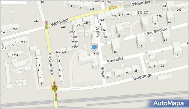 Zabrze, Wajdy Józefa, ks., 6, mapa Zabrza