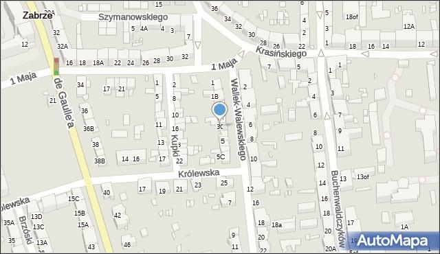 Zabrze, Wallek-Walewskiego Bolesława, 3C, mapa Zabrza