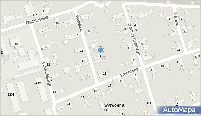 Zabrze, Wallisa Łukasza, 16, mapa Zabrza