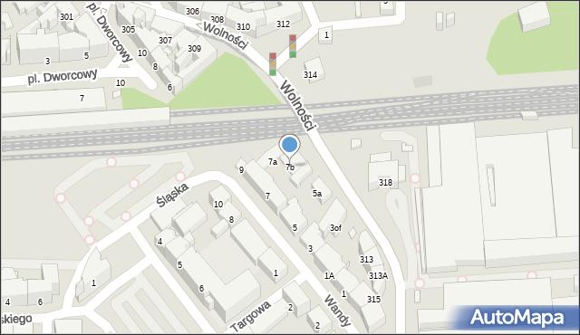 Zabrze, Wandy, 7b, mapa Zabrza