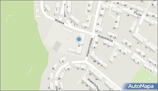 Zabrze, Wawrzyńskiej Ludwiki, 11, mapa Zabrza
