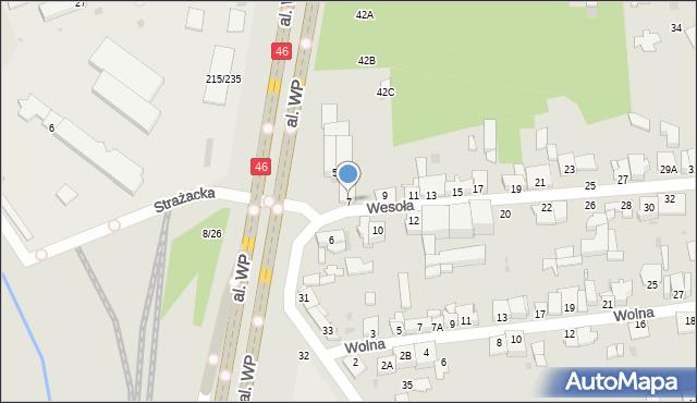 Częstochowa, Wesoła, 7, mapa Częstochowy