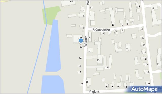 Jedwabne, Wesoła, 12, mapa Jedwabne