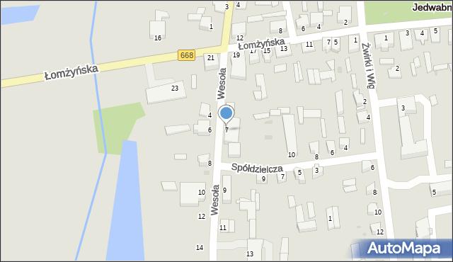 Jedwabne, Wesoła, 7, mapa Jedwabne