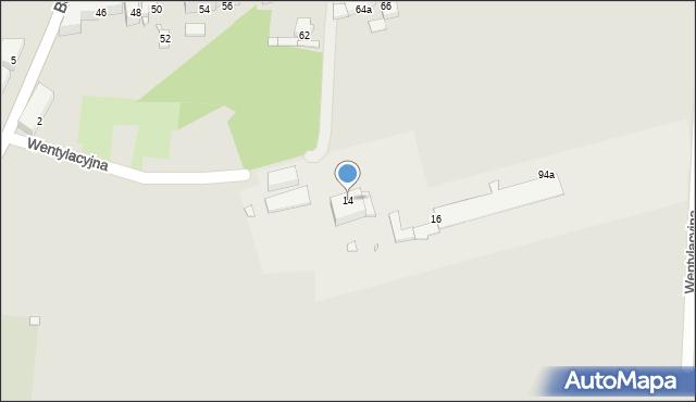 Piekary Śląskie, Wentylacyjna, 14, mapa Piekary Śląskie