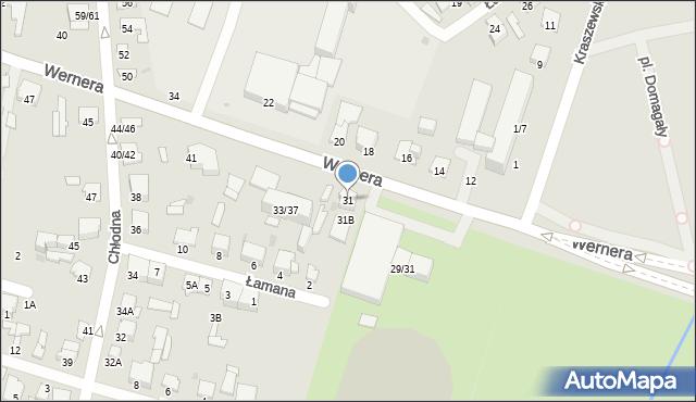 Radom, Wernera Stanisława, 31, mapa Radomia