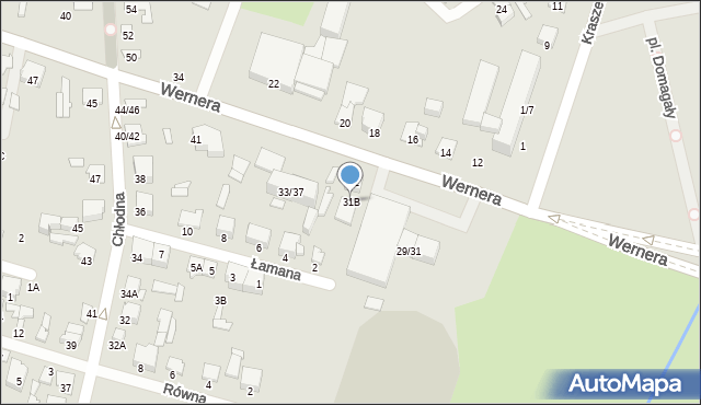 Radom, Wernera Stanisława, 31B, mapa Radomia