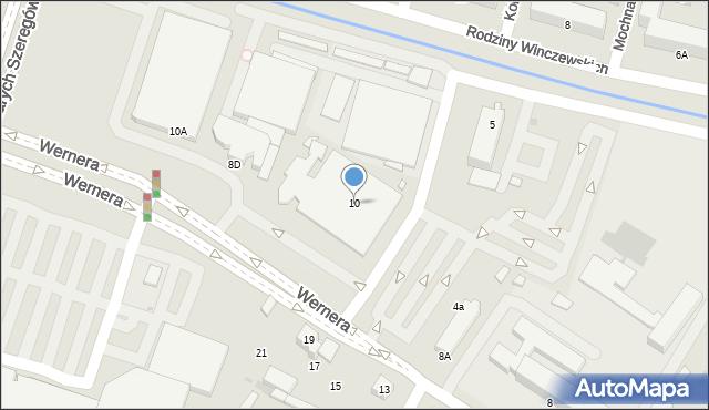 Radom, Wernera Stanisława, 10, mapa Radomia
