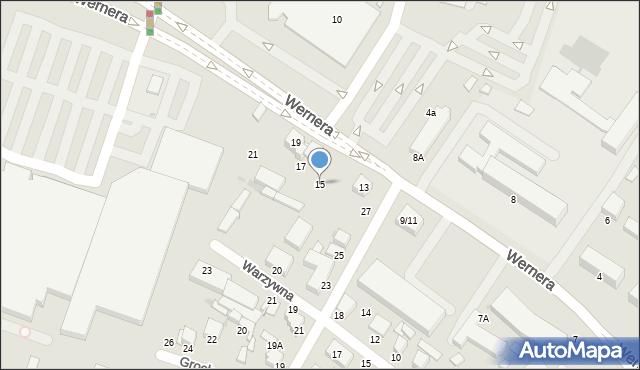 Radom, Wernera Stanisława, 15, mapa Radomia
