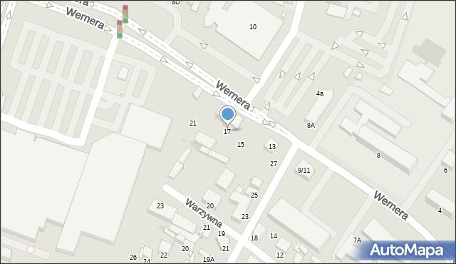 Radom, Wernera Stanisława, 17, mapa Radomia