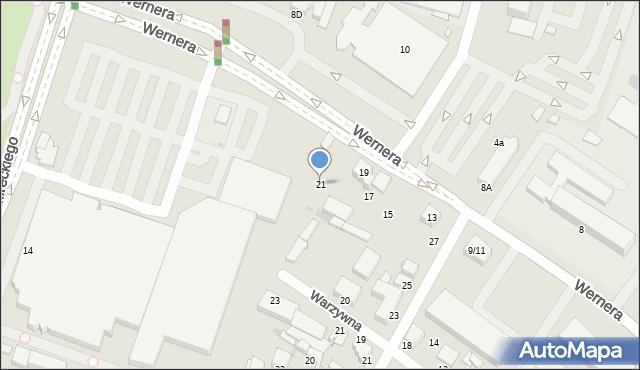 Radom, Wernera Stanisława, 21, mapa Radomia
