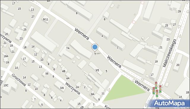 Radom, Wernera Stanisława, 7, mapa Radomia