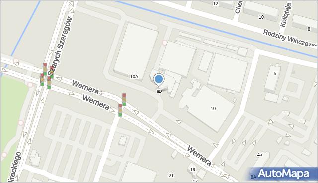 Radom, Wernera Stanisława, 8D, mapa Radomia