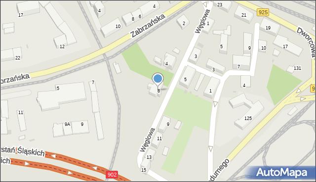 Ruda Śląska, Węglowa, 8, mapa Rudy Śląskiej